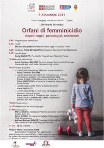 seminario orfani di femminicidio 6 dicembre 2017
